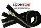 "14"" to 48"" #5 Brass Separating Jacket Zippers YKK ~ ZipperStop - BLACK"