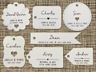 Individually Personalised White Wedding Favour Gift Tags with Guest Name