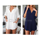 Women Long Sleeve V Neck Oversize Loose Casual Chiffon T-Shirt Top Blouse