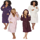 Ladies Forever Dreaming Plain Hooded Super Soft Warm Fleece Dressing Gown Robe