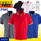 Mens Polo Casual Short Sleeve Sports Golf Contrast Breathable UPF 30+ 10 Colours