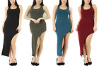 Ladies Womens Sleeveless Asymmetric Mini Cross Back Fitted Bodycon Dress