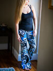 Paisley Teal Black Bell Bottom Flare Cotton Hippie Pants NWT