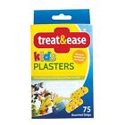 TREAT & EASE KIDS PLASTERS 75 ASSORTED STRIPS COLOURFUL DESIGNS