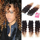 4 bundles Brazilian Virgin Ombre Deep Wave Human Hair Extensions 200g UK SHIP