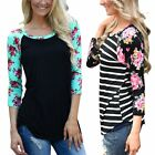 Fashion Women Floral Tee T-Shirt Lady Casual Loose Long Sleeve Tops Blouse Shirt