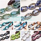 5~30pcs 24mm Oval Lampwork Glass Charms Jewelry Findings Stripe Loose Beads