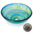 OPEN BOX - Blue, Green and Yellow Glass Round Bathroom Vessel Sink