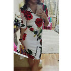 Women V-neck Dress Elegant Rose Printing Half Sleeve Dress Autumn hot 1X