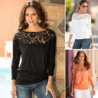Women's Loose Casual Long Sleeve T Shirts Sexy Lace Shirt Blouse Ladies Tee Tops