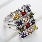 925 Silver multicolor Square Zircon Jewelry Wedding Engagement Ring Size6-10