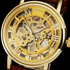 Classic Men'S Golden Case Auto Mechanical Leather Steampunk Skeleton Watch ss2