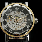 New Men Classic Hand Wind Mechanical Skeleton Analog Brown Pu Leather Watch ss2