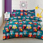 Multi Colour Owl Printed Duvet Cover Bedding Set Single Double King Cotton Rich