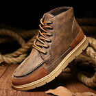 Men's British Style PU Ankle Boots Lace Up Casual Fashion High-top Martin Shoes