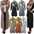 Ladies Women Faux FUR Collar Long Maxi Cardigan Cape Belted Knitted Sweater Coat