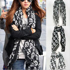 New Fashion Women's Classic Skull Print Long Scarf Ladies Voile Wrap Shawl