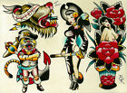 Flash 6 by Brian Kelly Pirate Ship Cat Nude Tattoo Designs Canvas Fine Art Print