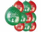 "9"" Christmas Latex Balloons Green Snowman & Red Christmas"