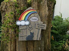 Personalised Rainbow Bridge Door Memorial - Rabbit with plaque