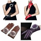 Women Leather Gloves Autumn Winter Warm Rabbit Fur Mittens New!!!