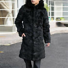 Fashion Men's 100% Real Rabbit Fur Long Jacket Coat Classic Black Warm Waistcoat