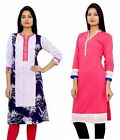 2 Pcs Set Indian Designer Cotton Ladies Kurta Women Ethinc Long Top Tunic Kurti