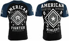 AMERICAN FIGHTER Mens T-Shirt KENDALL Athletic BLACK BLUE Biker Gym MMA $40 image