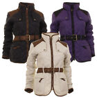 Ladies Jess Light Quilted Zip Through Warm Belted Jacket In 3 Colours