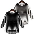 Women Lady Fashion Classic Stripe Pullover Shirt Long Sleeve Blouse Casual Tops