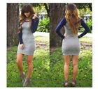 Fashion women new long sleeve joining together round neck dress 2 colors hot