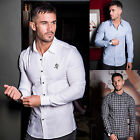 Mens Gym King Long Sleeve Designer Oxford & Checkered Slim Fit Smart Shirt T