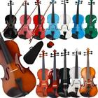 new natural black 4 4 3 4 1 2 1 4 1 8 size acoustic violin fiddle with case bow