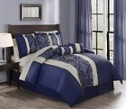 11 Piece Soleil Navy Bed in a Bag w/600TC Cotton Sheet Set