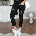 Womens Stretch Faded Ripped Jeans Pants Ladies Slim Fit Skinny Leggings Trousers