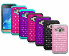 Diamond Bling Hybrid Armor Protective Cover Cases For Samsung Galaxy J1 Luna 4G