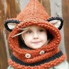 Adorable Baby Hat Cute Unisex Winter Fox Shawl Collar And Wool Knitted Hat Sale