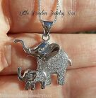 Elephant & Baby Pendant Charm 925 Sterling Silver Chain 2pc Necklace Gift Set