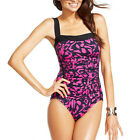 INC $80 NEW 4043 Multi Square Neck Ruched Swimsuit One-Piece 10