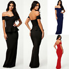 SEXY Women's Off Shoulder Bodycon MAXI Dress Long Party Evening Cocktail Gowns L