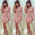 Fashion Womens Bodycon Long Sleeve Evening Party Cocktail Lace Mini Dress USA
