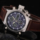 Army Men's Brown Leather Strap Digital Date Dual Time Sport Military Wrist Watch