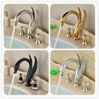 Bathroom Deck Mounted Basin Faucet Swan Spout Waterfall Sink Mixer Dual Handles