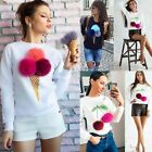 Womens Long Sleeve Plush Pom Pom Ball Sweater Pullover Hoodies Jumper Top Shirt