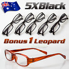 5Pairs Mens Ladies Wayfarer Frame Magnifying Reading Glasses Nerd Spectacle AU