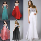 Women Sequins Chiffon Long Formal Prom Dress Cocktail Party Bridesmaid Ball Gown