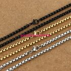 """1/2/3/4/5/7MM Silver Gold Black Stainless Steel Rolo Box Chain Necklace 16-40"""""""