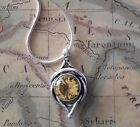 VICTORIAN GOLDEN YELLOW JEWEL PENDANT/NECKLACE & Sterling Silver .925 CHAIN