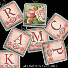 A Handcrafted Vtg Pink Roses Boho Letters Initial Necklace Silver Charm Pendant