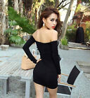 Women Off Shoulder Micro Mini Club Dress Boat Neck Evening Party Skirt Clothes